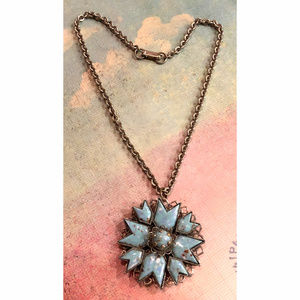 Jewelry - VTG 70's Filigree Silver & Turquoise Gem Necklace